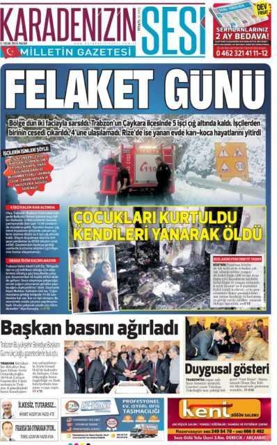 Çaykara'daki Çığ Felaketi: Yerel Gazete Manşetleri 11