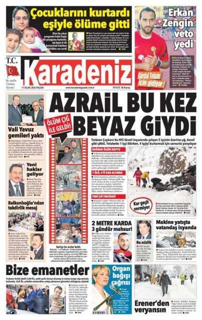 Çaykara'daki Çığ Felaketi: Yerel Gazete Manşetleri 10