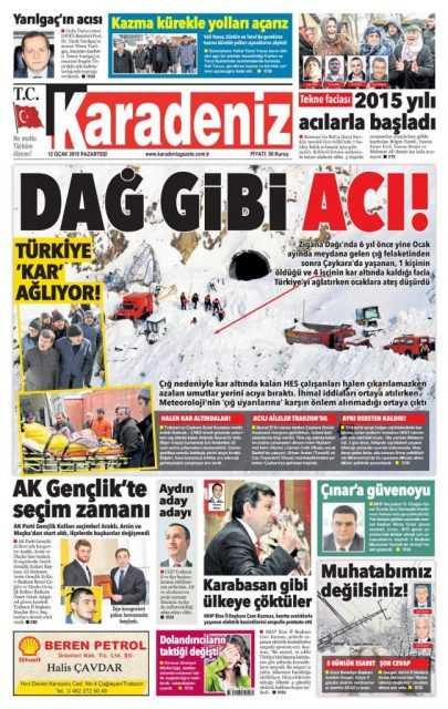 Çaykara'daki Çığ Felaketi: Yerel Gazete Manşetleri 9