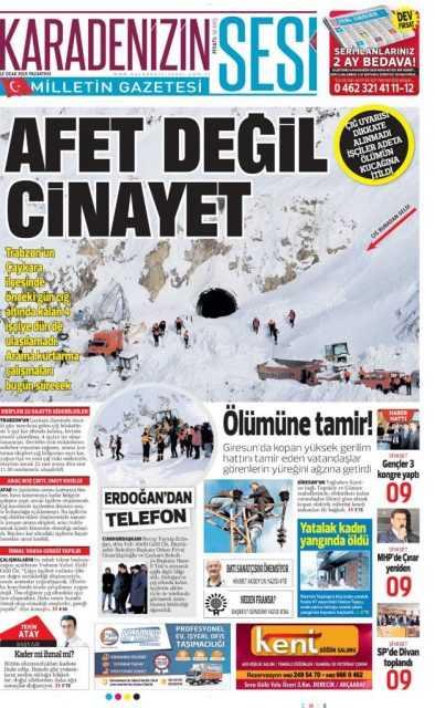 Çaykara'daki Çığ Felaketi: Yerel Gazete Manşetleri 8