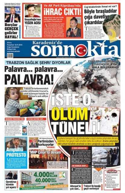 Çaykara'daki Çığ Felaketi: Yerel Gazete Manşetleri 7