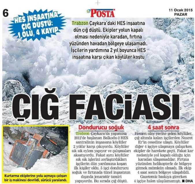 Çaykara'daki Çığ Felaketi: Yerel Gazete Manşetleri 1