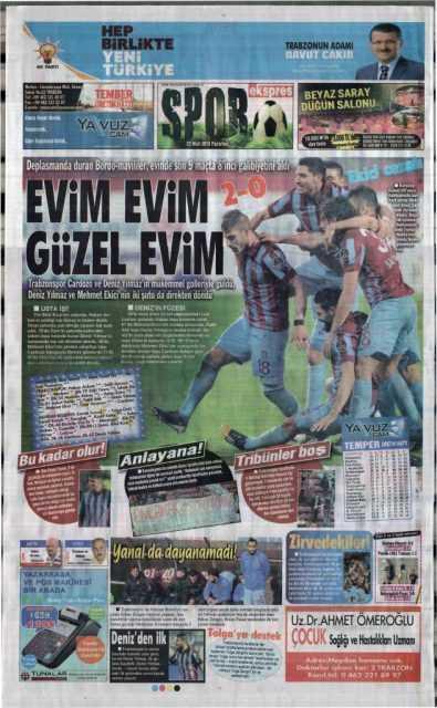 Trabzonspor'un Akhisar Galibiyeti Manşetlerde 3