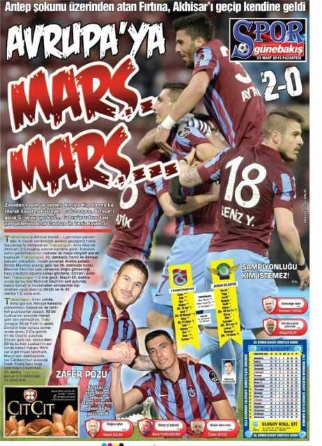 Trabzonspor'un Akhisar Galibiyeti Manşetlerde 6