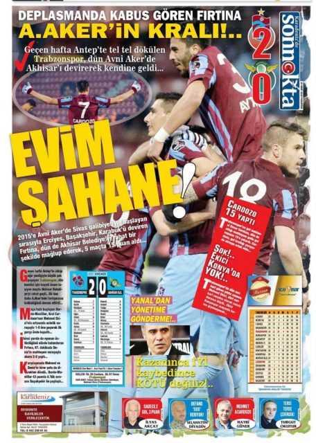 Trabzonspor'un Akhisar Galibiyeti Manşetlerde 7