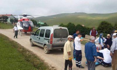 Neriman Alkan Ambulans Helikopterle Eğrisu yaylasından Hastaneye kaldırıldı