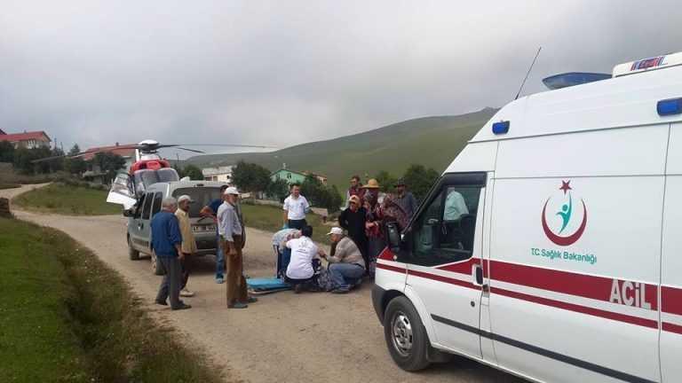 Neriman Alkan Ambulans Helikopterle Eğrisu yaylasından Hastaneye kaldırıldı 2