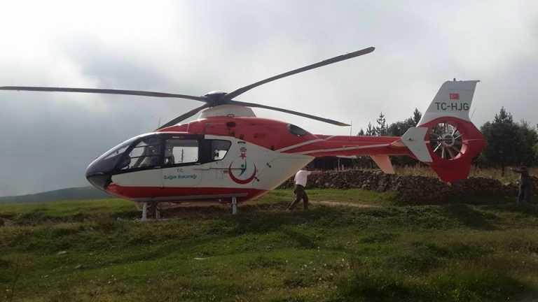 Neriman Alkan Ambulans Helikopterle Eğrisu yaylasından Hastaneye kaldırıldı 1