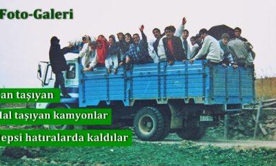 Çaykara'nın bir dönemini taşıyan kamyonlar