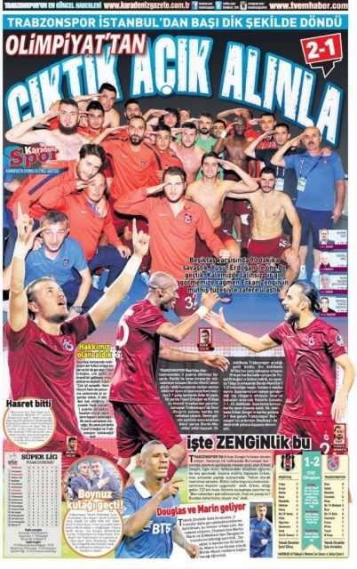 Trabzonspor'un BJK Galibiyeti Manşetlerde 1