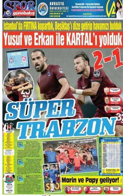 Trabzonspor'un BJK Galibiyeti Manşetlerde 7