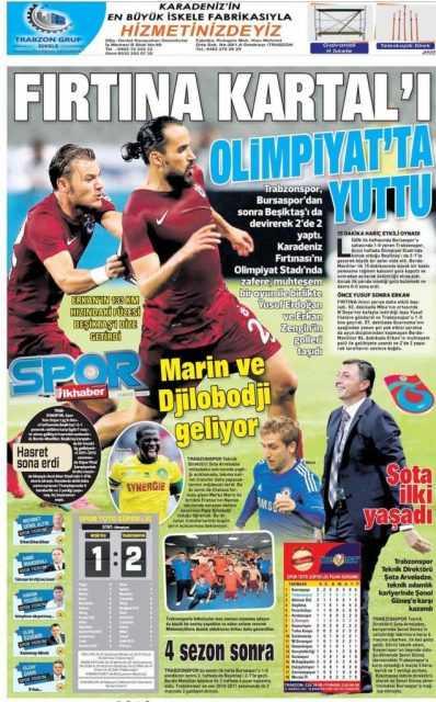 Trabzonspor'un BJK Galibiyeti Manşetlerde 6