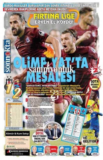 Trabzonspor'un BJK Galibiyeti Manşetlerde 5