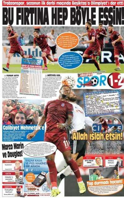 Trabzonspor'un BJK Galibiyeti Manşetlerde 4
