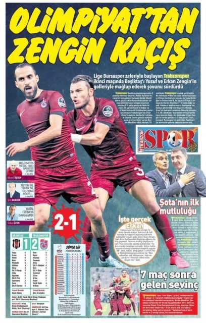Trabzonspor'un BJK Galibiyeti Manşetlerde 3