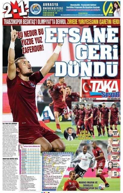Trabzonspor'un BJK Galibiyeti Manşetlerde 2
