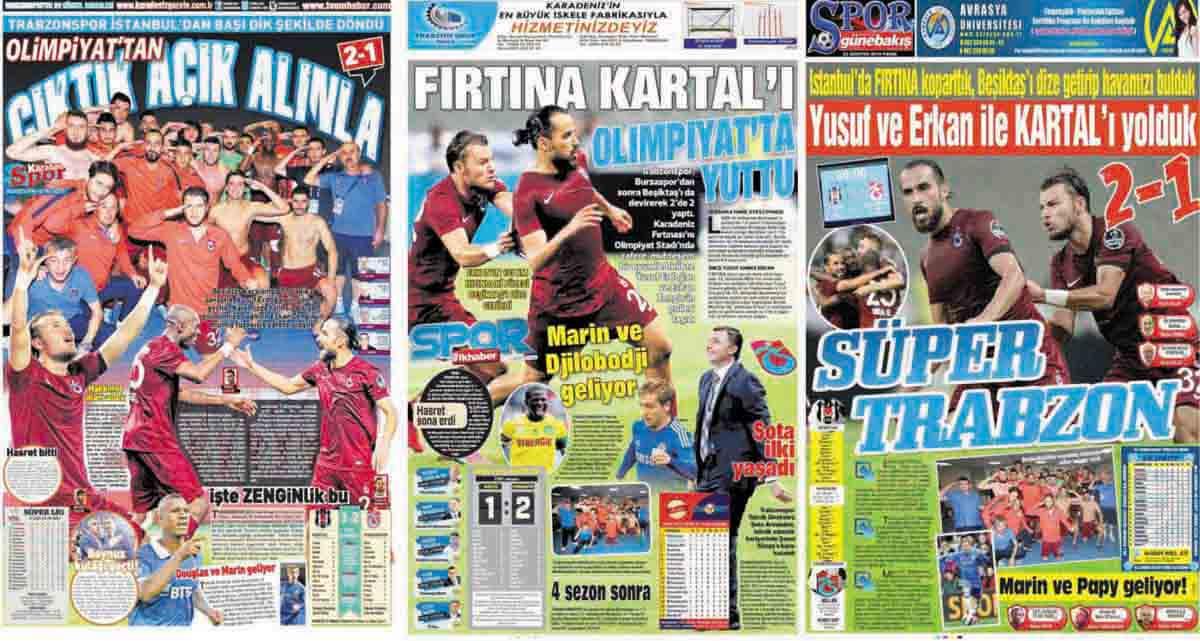 Trabzonspor'un BJK Galibiyeti Manşetlerde