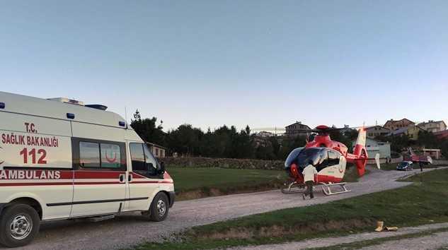 Ambulans helikopterle yayladan hastaneye kaldırıldı 3