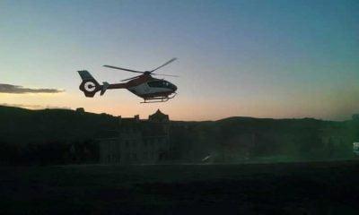 Ambulans helikopterle yayladan hastaneye kaldırıldı