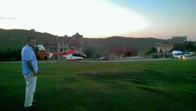 Ambulans helikopterle yayladan hastaneye kaldırıldı 2