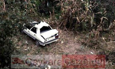 Çaykara'da araç şarampole yuvarlandı