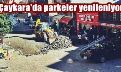 Çaykara'da parke yenileme çalışması başladı