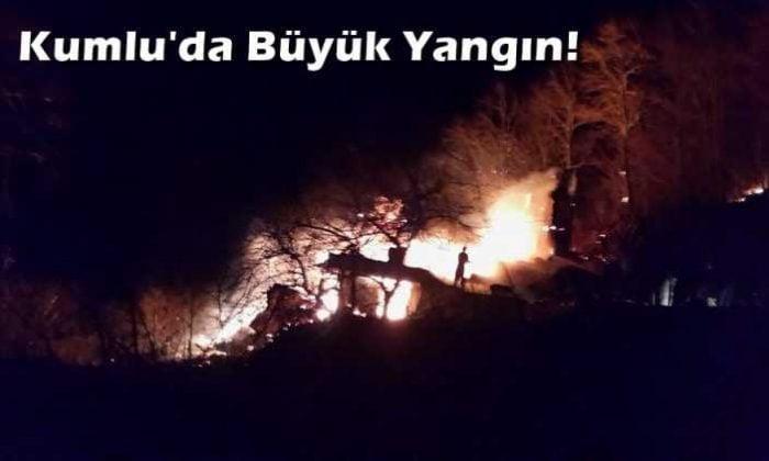 Kumlu Mahallesinde iki ev tamamen yandı