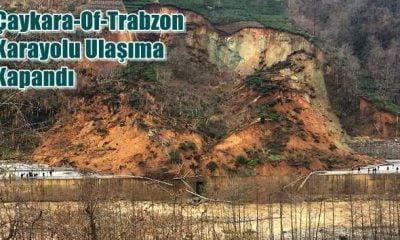 Çaykara-Of-Trabzon karayolu heyelan nedeniyle ulaşıma kapandı