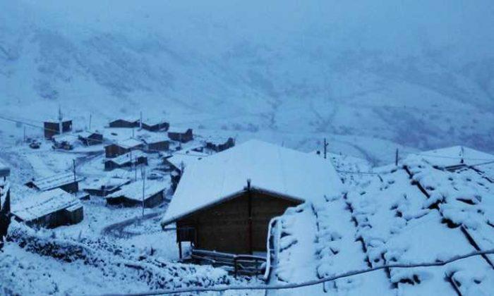 Çaykara'da yılın ilk kar'ı yağdı