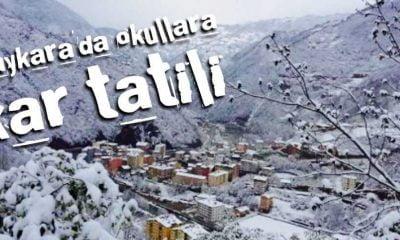 Çaykara'da eğitime kar arası