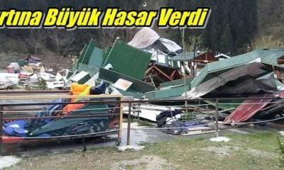 Fırtına Çaykara ve Mahallelerinde hasara neden oldu
