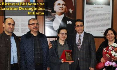 Çaykaralılar Derneği YGS Birincisi Elif Sema'yı ödüllendirdi