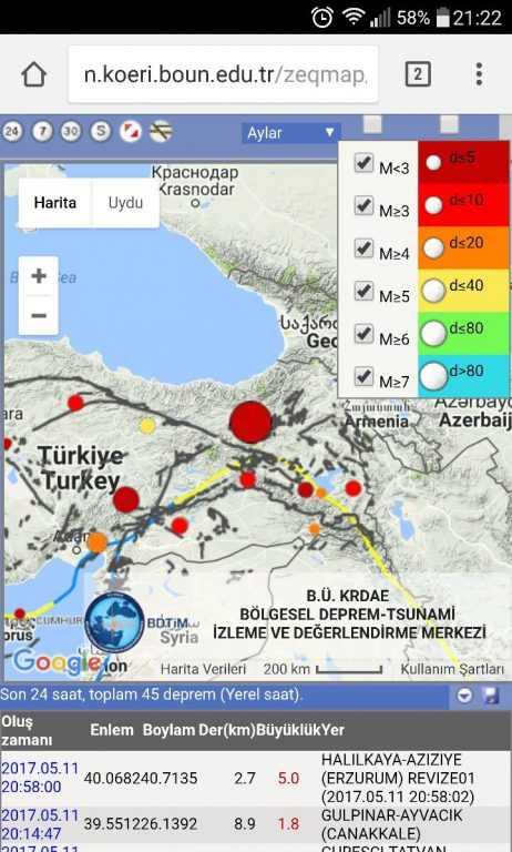 Deprem Çaykara'da hissedildi 1