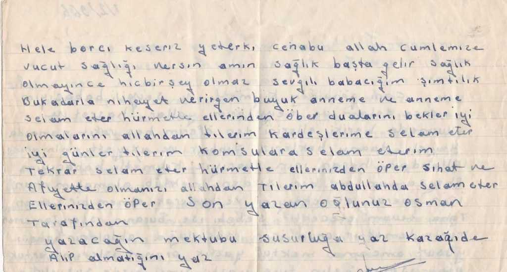50 yıl önce bir Kalaycının gurbetten köye mektubu 2