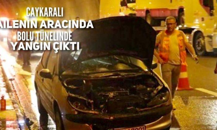 Araçları Bolu Tünelinde ateş aldı