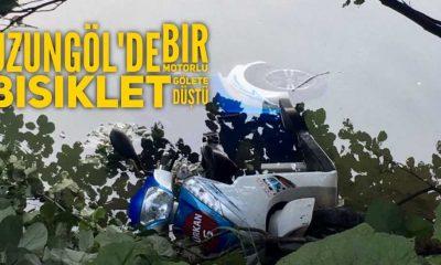 Uzungöl'de bir motorlu bisiklet gölete düştü