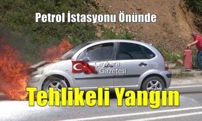 Çaykara'da otomobil petrol istasyonu yanında alev aldı