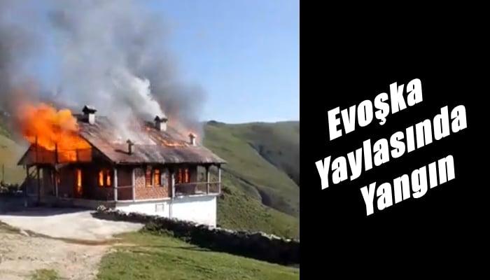 Yaylada çıkan yangında bir ev kül oldu