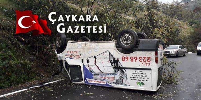 Çaykaralı İşletmeci aracı kaza yaptı