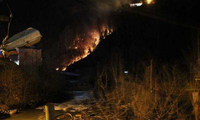 Çaykara'da orman yangını!