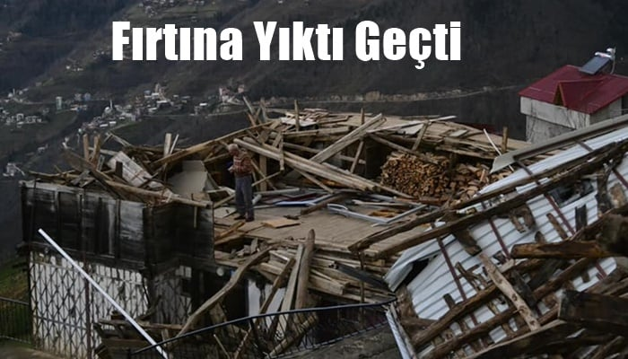 Fırtına Çaykara'yı yıktı geçti