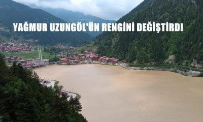 Yağan yağmurla Uzungöl'ün rengi değişti bir yaya köprüsü yıkıldı