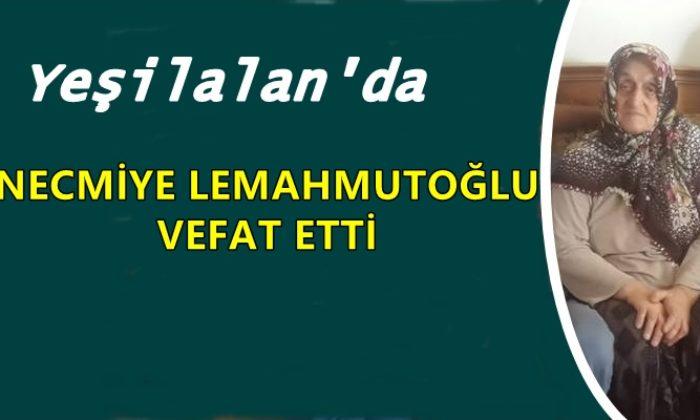 Yeşilalan mahallesinden Necmiye Lemahmutoğlu vefat etti