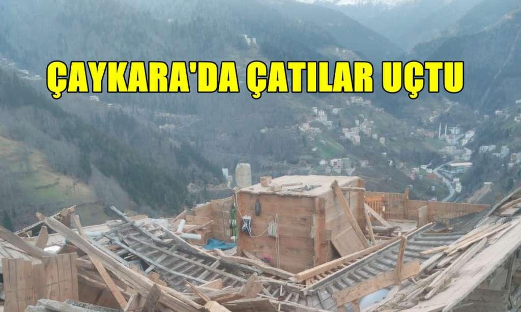Çaykara'da fırtına çatıları uçurdu