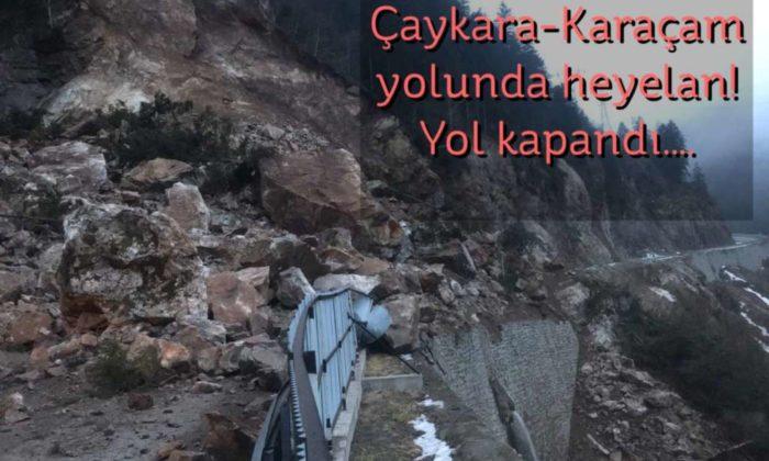 Çaykara'da heyelandan yol kapandı