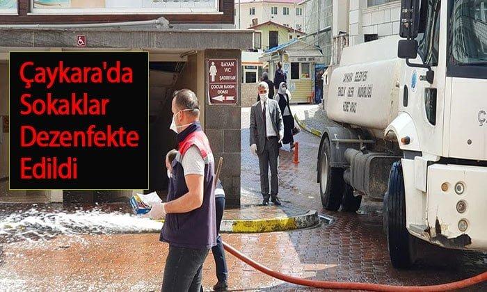 Çaykara'da Sokaklar Dezenfekte Edildi