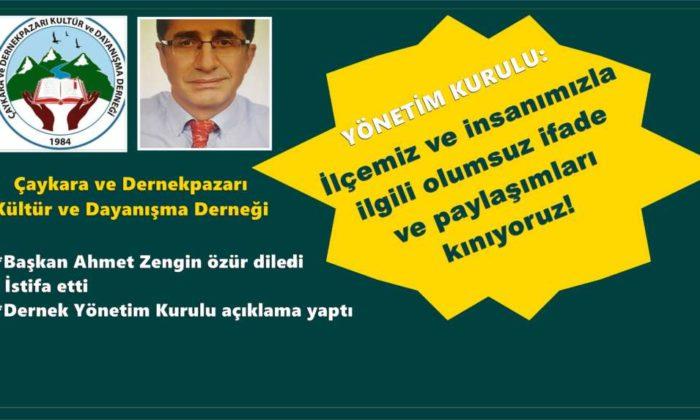 Ahmet Zengin Dernek başkanlığından ayrıldı