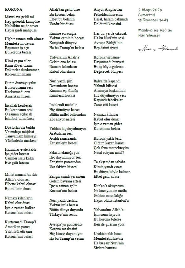 Coronaya Bir Yerel Şiir Daha 1