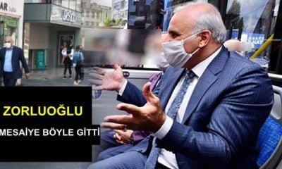 Başkan Zorluoğlu, bugün işe gitmek için otobüsü tercih etti.