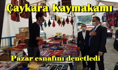 Çaykara Kaymakamı Çelikkol Belediye Başkanı Tok Pazar esnafını denetledi